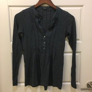 Theory Dark Gray Pleated LS Button V Neck Blouse S